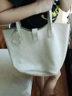 Genuine leather white tote bag