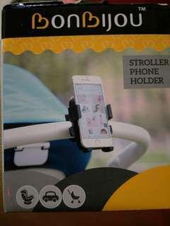 Stroller phone holder