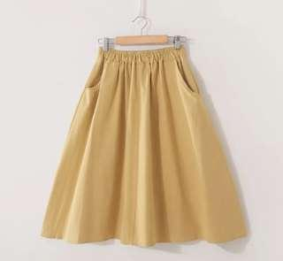 芥末黃色7分腳裙 Yellow Dress