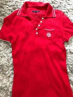 Tommy Hilfiger red stretch polo