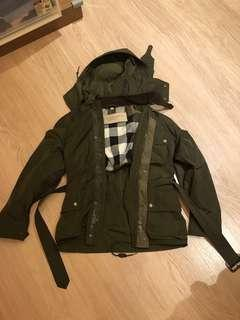 Burberry Brit Khaki Military Belted Field Jacket Small