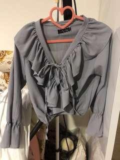 Fluttery pastel grey blue blouse 💝
