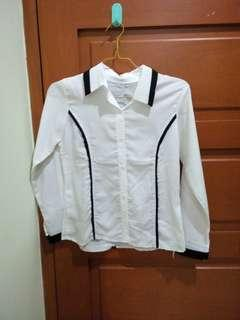 Kemeja shirt black white