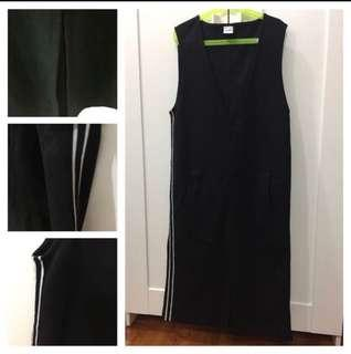 (Used)Pinafore with side tape and front slit 裙