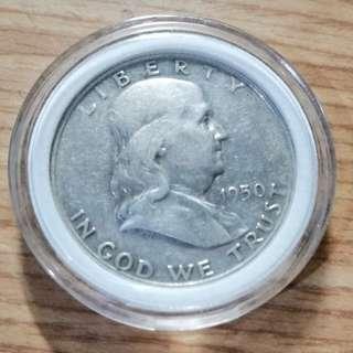 🚚 美國1950年富蘭克林半美元銀幣 較少年分 D(丹佛)版 AU+ 原光 保真  附內墊小圓盒