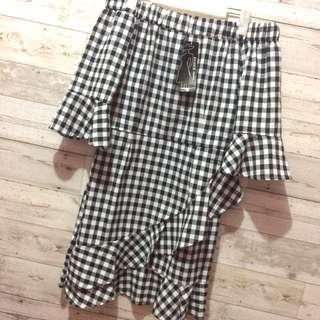 Gingham offshie dress