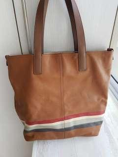 Coach reversible tote bag half leather/canvas