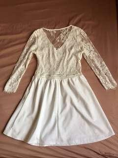 Airspace white lace low back dress