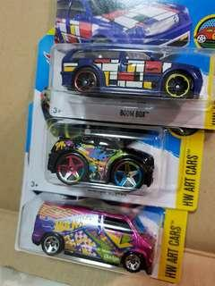 3x Hot Wheel Art Cars