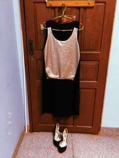 Metallic Cocktail Shirt Dress