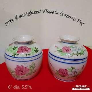 1920-50s Chinese Ceramic Small Soup Pot or Chupu with Underglazed Flowers. Unused, Good Condition. Each for $60 or both for $78 offer! whatsapp 96337309.