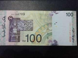 RM100 with Fancy Number CV1396789