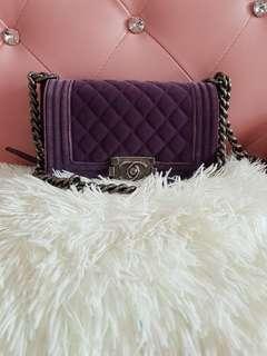 Chanel Leboy Velvet Purple Flap Bag