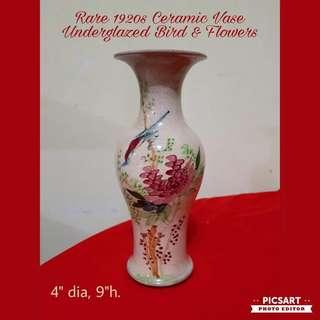 Rare 1920 Chinese Ceramic Vase with Underglazed Hand-painted Bird & Flowers. Good Condition, just has crazing, a small shallow chip under the mouth and one temperature hairline on the inside at the mouth. $88 offer! whatsapp 96337309.