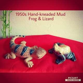 "1920s Hand-Kneaded Chinese Mud Figures of 4"" Frog and7"" Lizard. Dimensions as in the photo. Good Condition. Both for $75 offer! whatsapp 96337309."