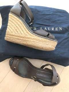 Ralph Lauren Roberta Leather Open Toe Casual Platform Sandals
