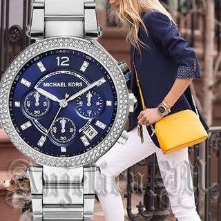 🚚 Michael Kors Women's Parker Silver-Tone Watch MK6117