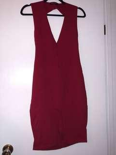 Red Backless Bodycon Dress - Size M