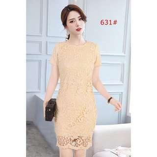 Beige Thailand Lace Dress