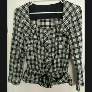 Sweet S Low Square Neck Check Print Blouse