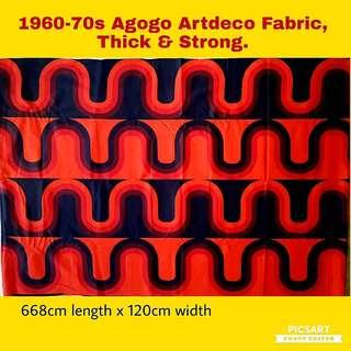 1960-70s AVALON Brand Orange-Red-Brown-Black Vibrantly-coloured Geometric Pattern Fabric popular in the Agogo Era. Thick and Strong Fabric suitable for Sofa and Curtains. Unused, Good Condition. Large, size as in photos.  $98, whatsapp 96337309.