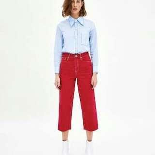 DICARI !!! Zara red cullote jeans