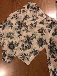 F21 Floral Blouse with cut out sleeves