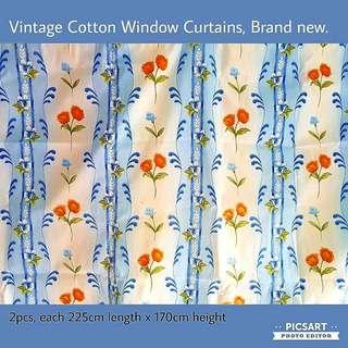 Vintage Cotton Window Curtains with Bright Orange Flowers on White and Blue Background. Large, size as in photos, fits 4 window panels in HDB flats. Unused, Like New, Good Condition. $35, whatsapp 96337309.