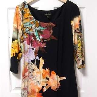Cartise Black Floral Dress 3/4 Sleeve Sz 10 8 Medium