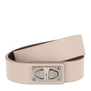 New never used just stored storebought GIVENCHY shark tooth nude belt - medium - comes complete with box and dustbag. Original price 37,000.  Gold metal plate can be cleaned. 32.5 from end to end.