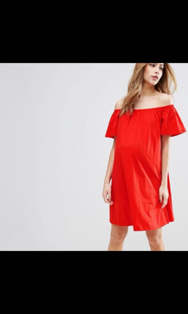 ecf1f163943 ASOS Maternity Off Shoulder Mini Dress UK6
