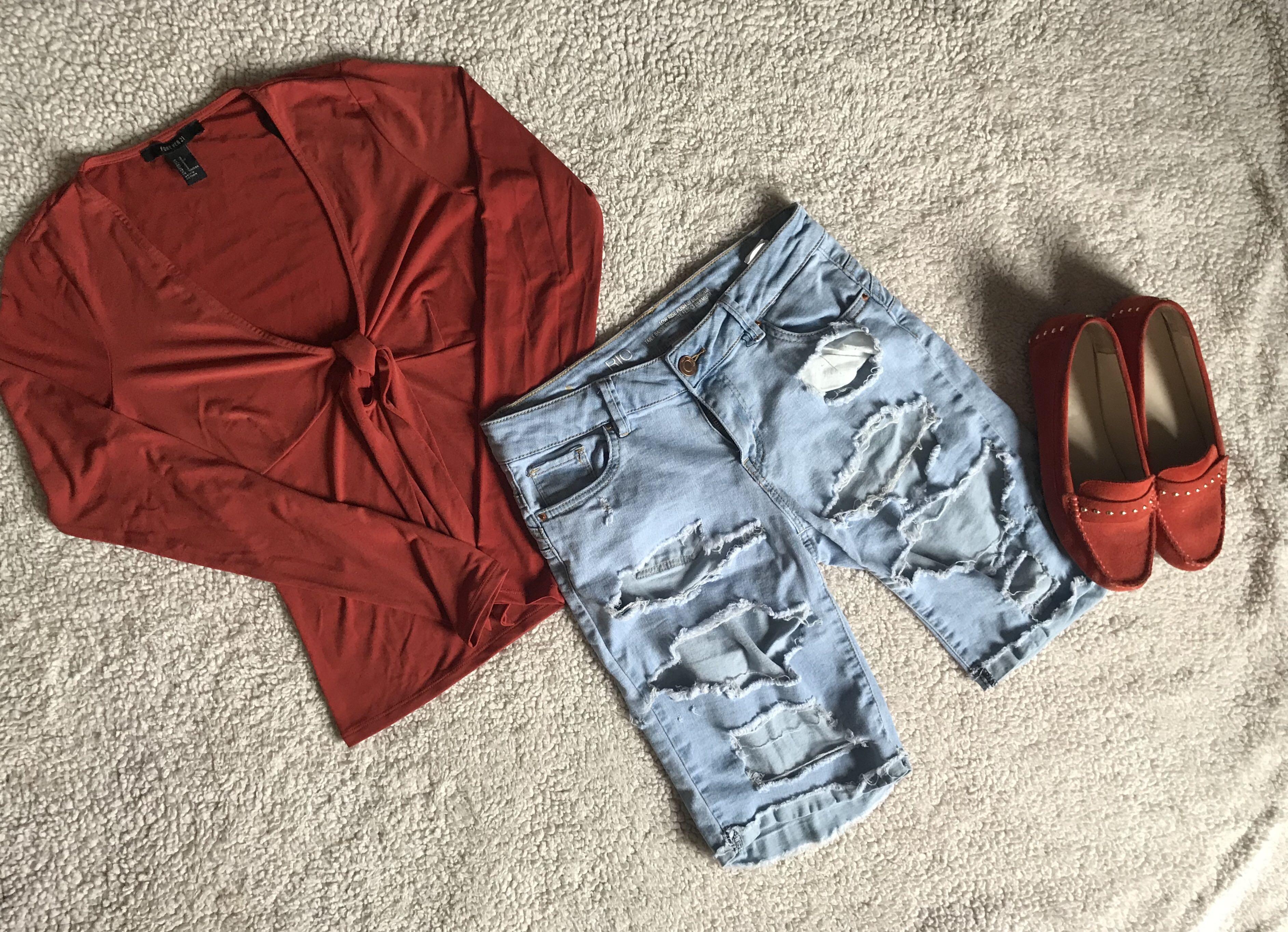 Bermuda Light Wash Ripped Shorts • V-Neck Long Sleeve Top