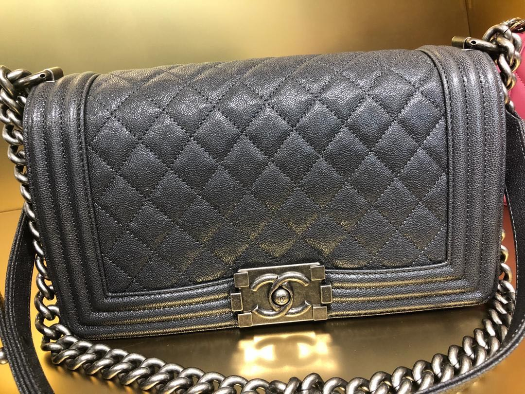 c413398cddd9f7 BNIB Chanel Boy Dark Grey Caviar with RHW, Luxury, Bags & Wallets, Handbags  on Carousell