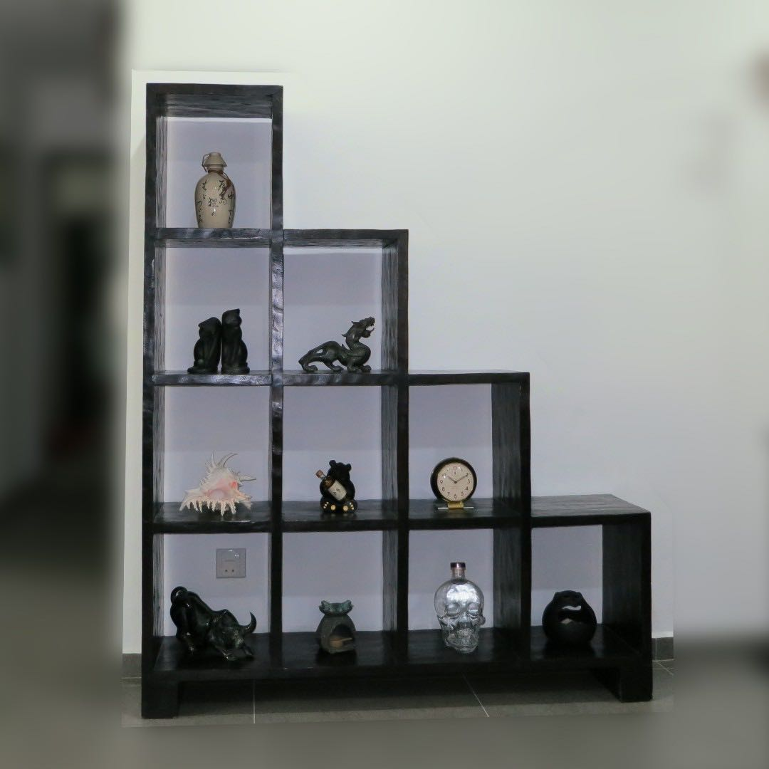 Burmese Teak Solid Wood Display Step Shelf Furniture Shelves Drawers On Carousell