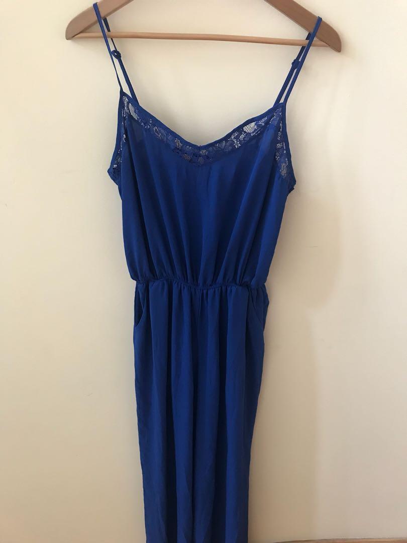 f21 blue wide leg jumpsuit