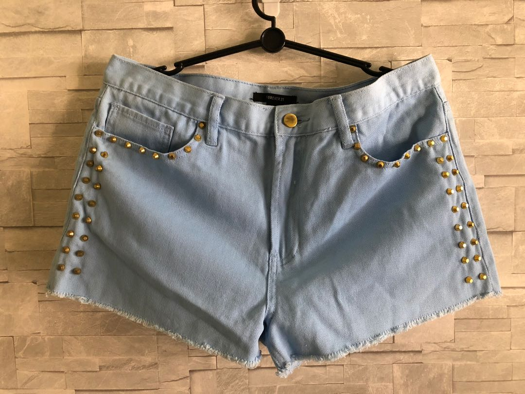 4b006a5bae Forever 21 Studded Light Blue Shorts, Women's Fashion, Clothes ...