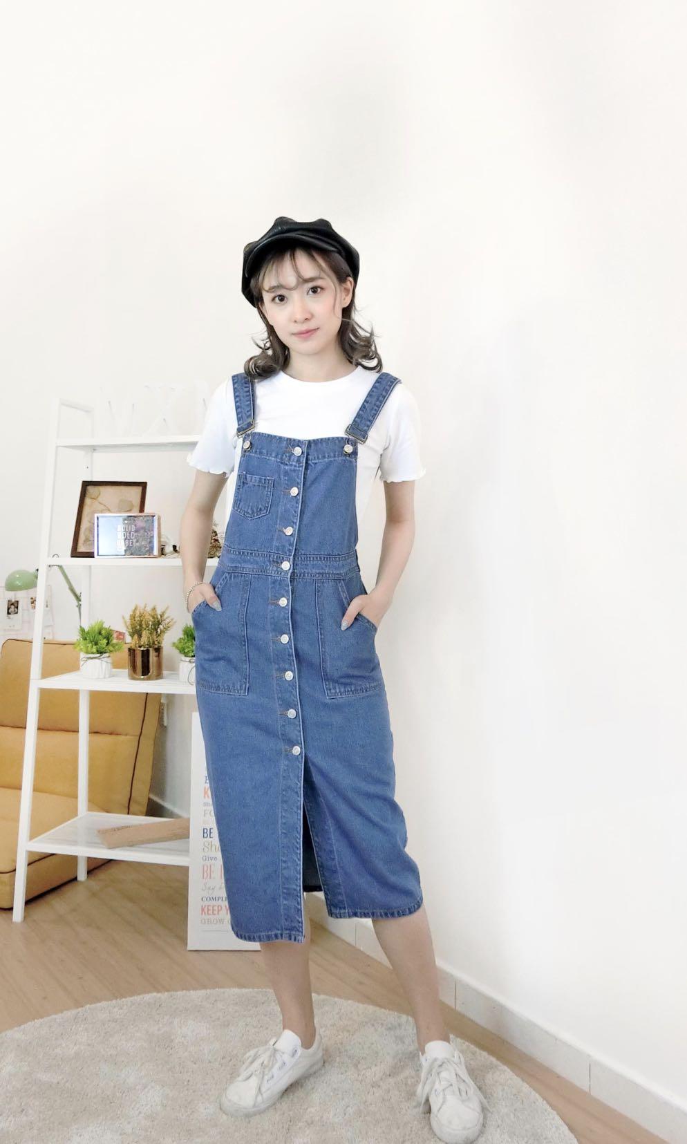 6fdd965aaa INSTOCK  Denim Overall Dress with Slit