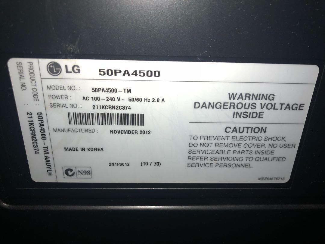 LG 50A4500 50inch HD Plasma TIVI