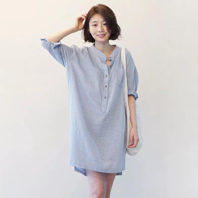 82750af5518 Oversized Linen Shirt Dress (blue)