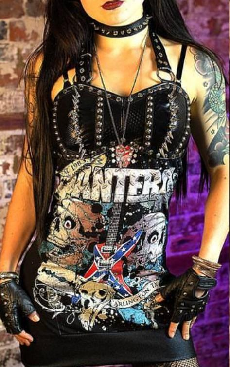 Pantera studded and spiked mini dress with thick snake skin pattern leather. Halter part is adjustable.