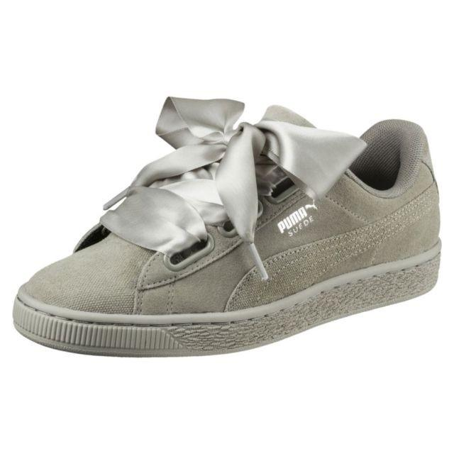 super popular f66d1 c06b2 Puma suede Heart Grey Color shoes with satin lace ribbon ...