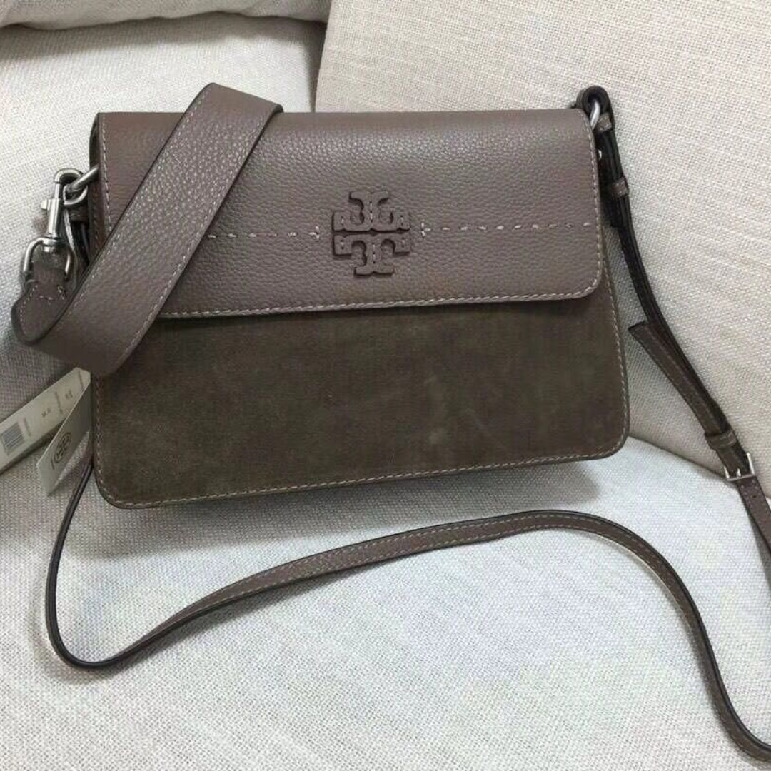 e22a67bd392 Tory Burch Leather Suede Mixed Sling Bag