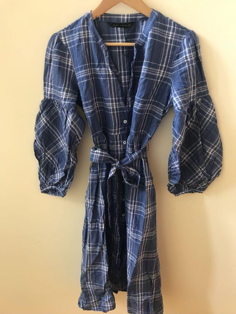 zara plaid puff sleeve midi dress