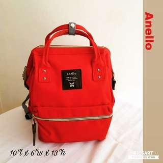 Versatile & Durable ANELLO Canvas backpack in Bright Red. Good & Clean Condition. $15 offer! whatsapp 96337309.