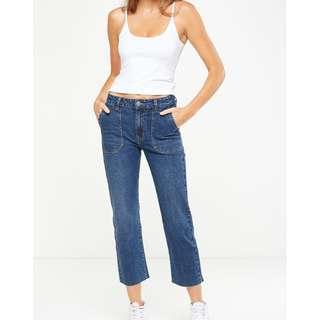 🚚 Cotton On Mid Rise Straight Crop Stretch Jean
