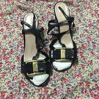 Sebastion Black Leather Sandals