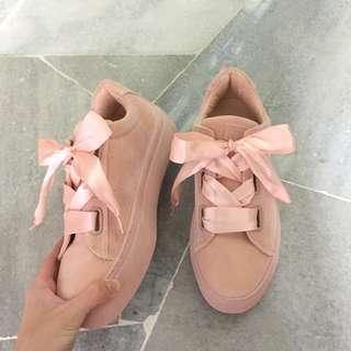 [BN] ZALORA - Something Borrowed Pink Ribbon sneakers #SubangJayaSwap