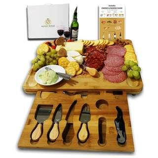 Extra Large Bamboo Cheese Board with drawer holding 19-accessories incl knives, forks, markers and Wine Accessories Set   Great gift for Mother's Day, Women, Wedding, Housewarming, Birthday