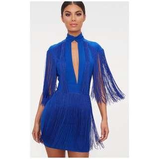 Cobalt blue fringe dress