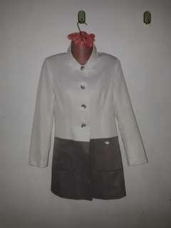 Cream / Gray Trench Coat FREE DELIVERY